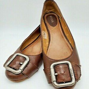 Fossil Tan Leather Ballet Buckle Comfort Flats